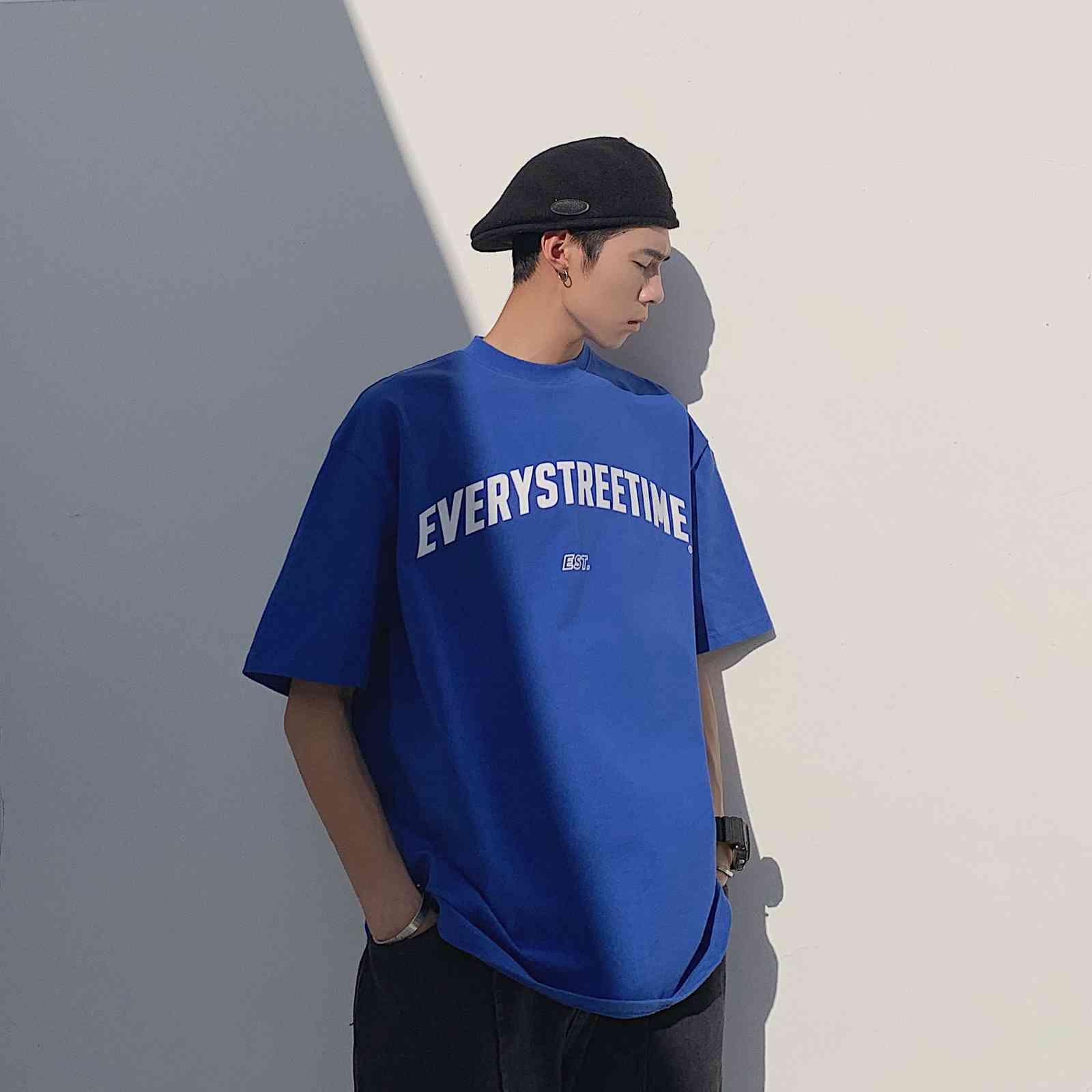T Универсальная базовая рубашка Литература Простое письмо с коротким рукавом Футболка Досуг Летняя мужская одежда