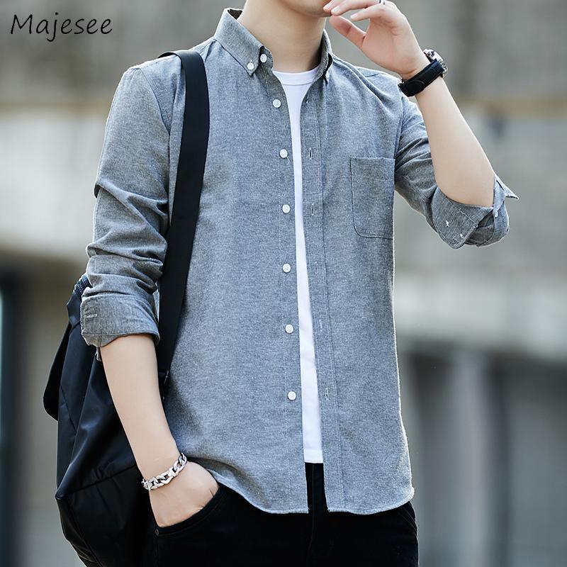 남성 셔츠 대형 M-5XL 느슨한 솔리드 스프링 하라주쿠 한국어 스타일 모든 일치 패션 레저 긴 소매 탑스 남성 세련된 남성용 캐스카