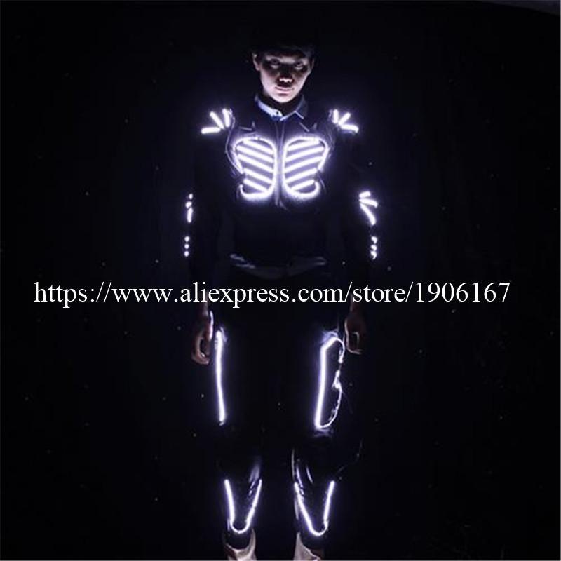 Est Colorful Mens Luminous Led Costume Light Up Clothes Ballroom Dance Robot Suit With Rechargeable Battery Party Decoration