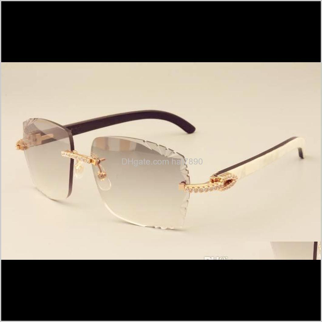 مصانع المصنع مباشرة أزياء الفاخرة الماس 3524014 قرون مختلطة الطبيعية مرآة الساقين النظارات الشمسية النقش عدسة قطرة خاصة التسليم 2021