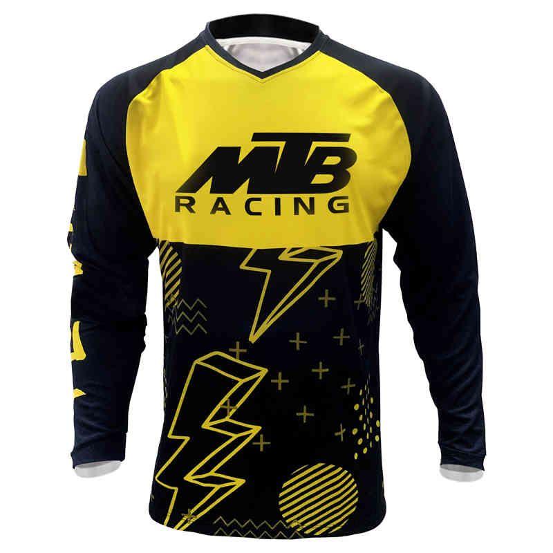 2020 мужской мотоцикл с длинным рукавом с длинным рукавом вниз MTB Jersey Endurosce Motocross горный велосипед DH Джерсискалкости BMX Рубашка верхняя носить х0503