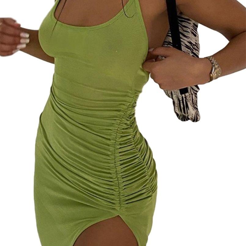 Delle donne vestito catena diviso senza maniche senza maniche senza maniche con cordoncino solido a vita alta a vita alta spaghetti cinturino halter girocollo moda 210522