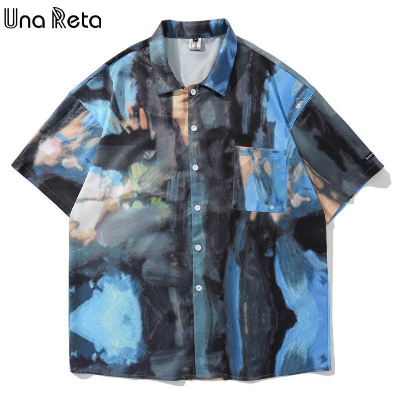Una Reta Loose Men 's Shirt 2021 여름 턴 다운 칼라 남성 힙합 탑 하루주쿠 낙서 프린트 셔츠 캐주얼
