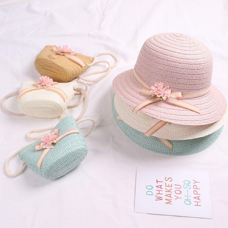일본 아기 소녀 여름 짚 태양 바이저 모자 지퍼 어깨 가방 달콤한 캔디 색상 플로랄 bowknot 자외선 보호 해변 모자 모자