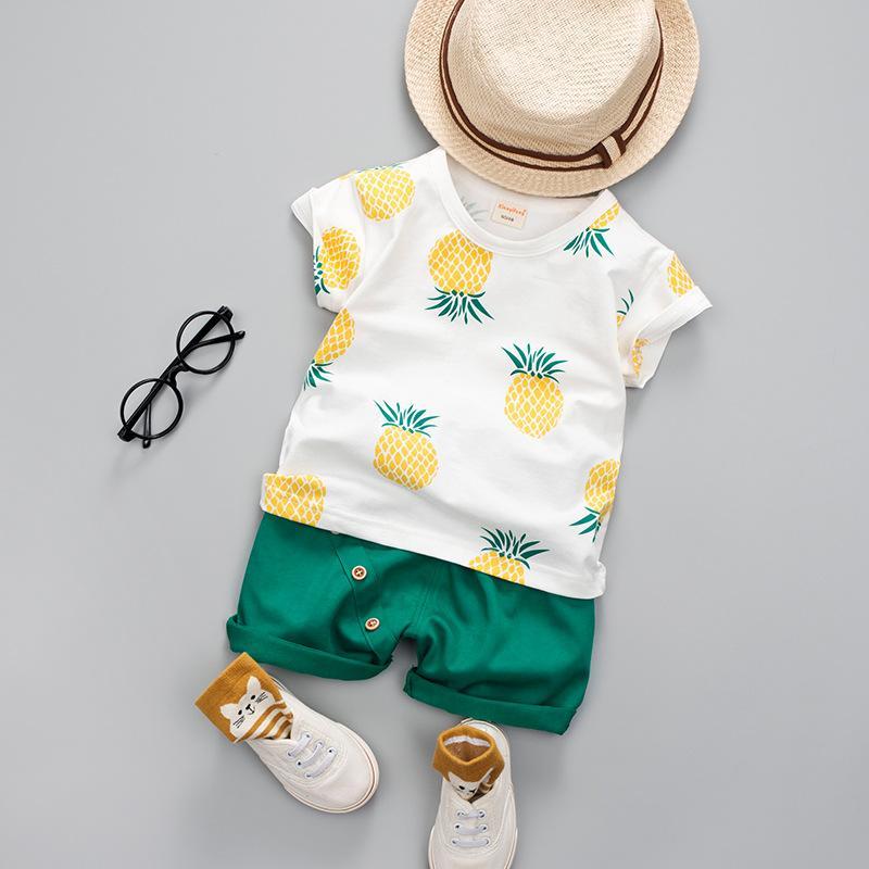 Детские малыши наборы 2021 летние малыши мальчики одежда повседневная ананасовая печать рубашки + шорты наряды костюма детская одежда 210226 547 y2