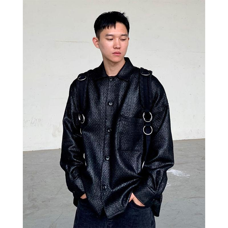 스타일 남성용 느슨한 질감 블랙 컬러 캐주얼 의류 긴 소매 셔츠 패션 캐미사 Masculina Streetwear 셔츠