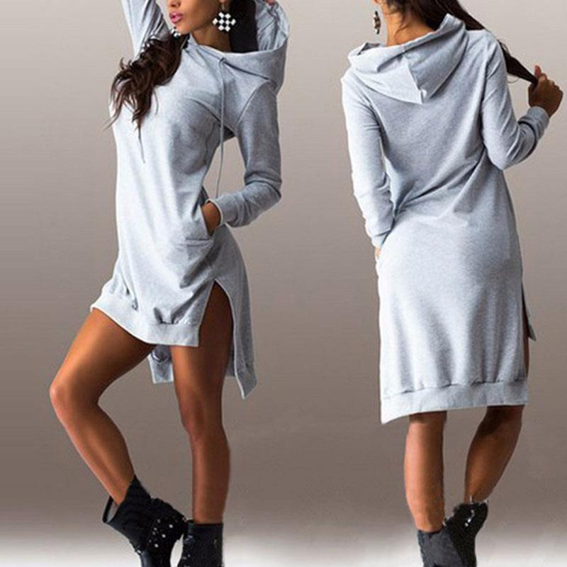Sexy Hoodie Clothes Hooded Women Dresses Club Party Outfits Plus Size Long Sleeve For Christmas A Line