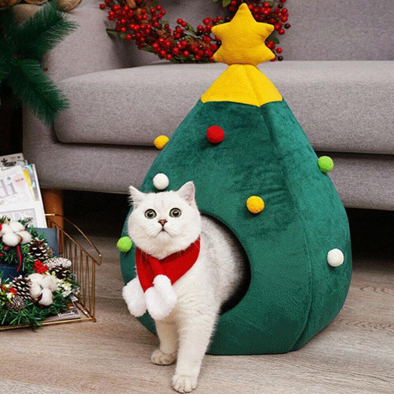 Pet House Cat Christmas Tree Shape Bed Dog Nest Puppy Cave Washable Cat Mat Warm Soft Winter Cat House Pet Supplies Pet Bed