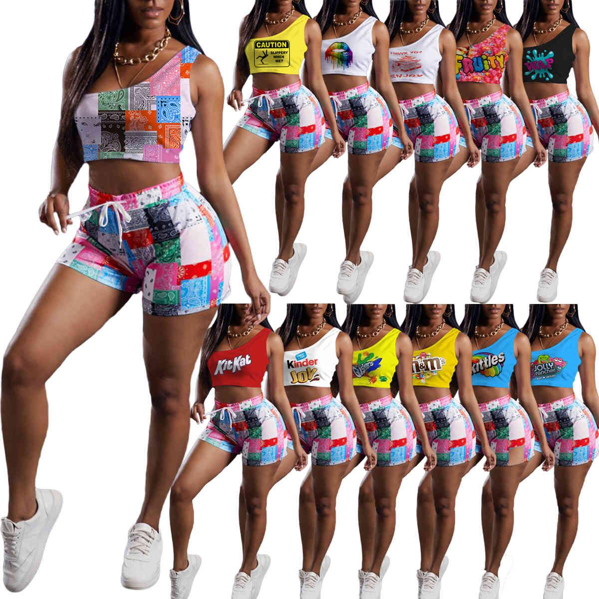 2021new summer sexy women tracksuits 2 pieces set Fashion casual printed one shoulder vest drawstring Shorts Set beach pants 1485