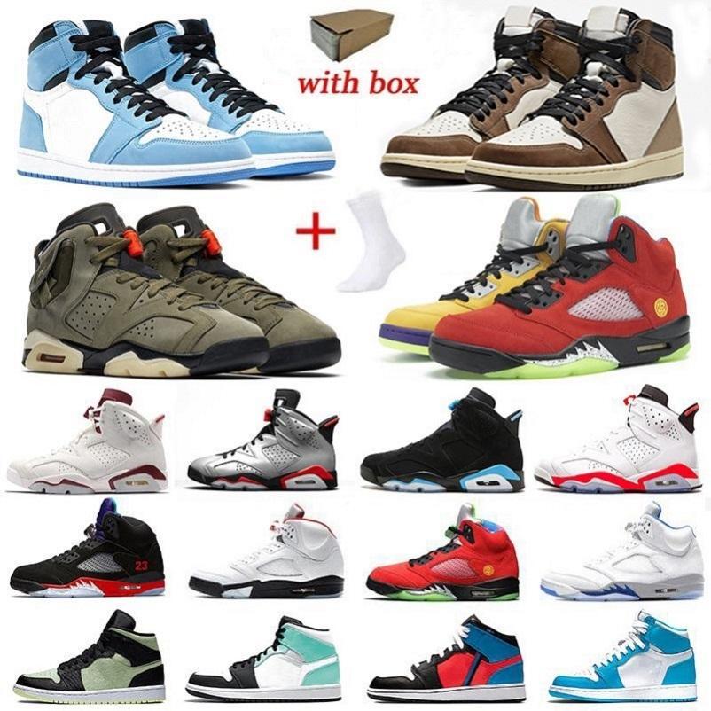 مع صندوق الجوارب Cactus Jack 6 What The 5 أحذية كرة السلة للرجال 5s زيتوني متوسط 6 s 1s UNC ترافيس سكوتس تويست يونيفرسيتي أحذية رياضية زرقاء للرجال jordan air shoes