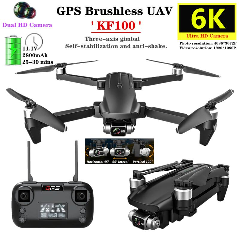 KF100 PTZ 5G 5G الكاميرا الكهربائية gps الطائرة بدون طيار 4 كيلو hd المزدوج عدسة البسيطة الطائرات بدون طيار في الوقت الحقيقي نقل fpv بدون طيار كاميرات مزدوجة طوي rc quadcopter لعبة