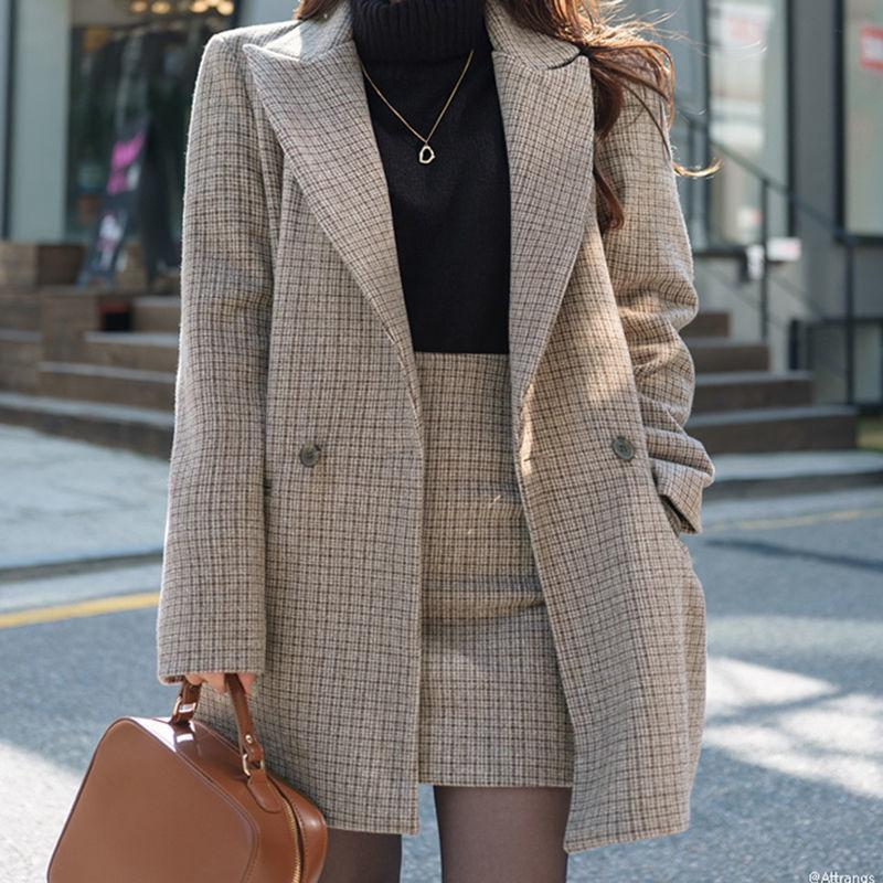 Women's Jackets Leiouna 2pcs Set Suits Coat And Skirt Womens Plaid Tweed Female Elegant Jacket Windbreaker Plus Size Outerwear