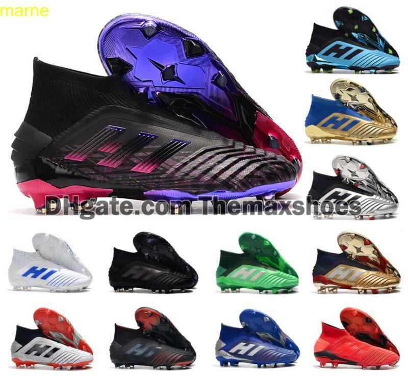 Sıcak Predator 19 + FG PP Paul Pogba Yeni Renk Futbol 19 + X Cleats Slip-on Futbol Çizmeler Erkek Yüksek Üst Ayakkabı Ucuz Boyutu 39-45