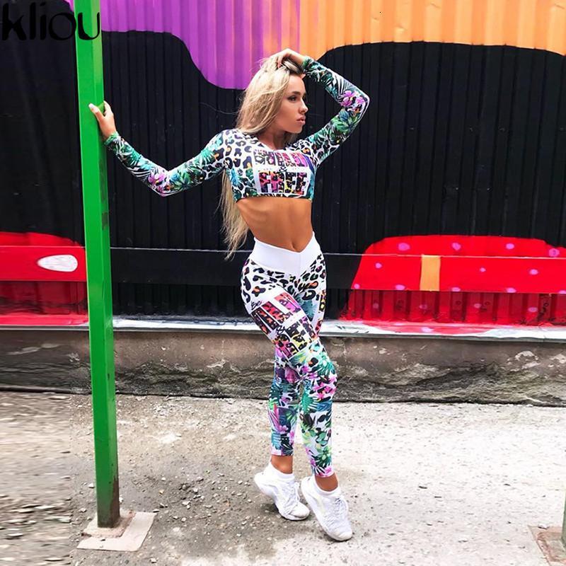 Kliou Fitness Cousssuit Цифровые напечатанные буквы Тренировки Женщины Две части Наборы Женский Спортивный Полный Рукав Урожай Верхние Леггинсы