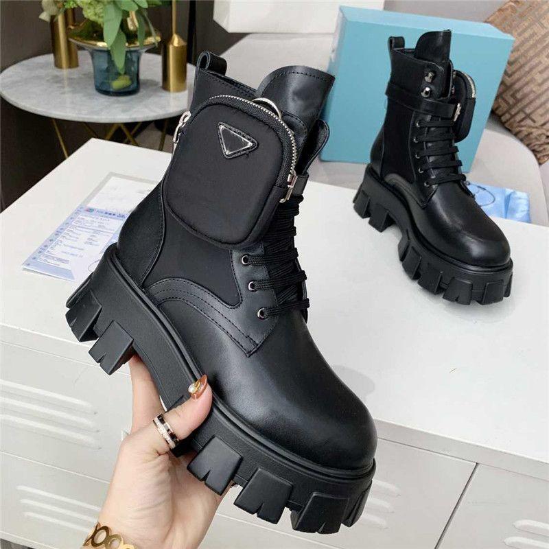 2021 Femmes Bottes pour hommes 36-45 Qualité ROI Martin Ankle Véritable Cuir Militaires Militaires Militaires Militaires Plateforme Botte Triple Cowhide Moto-chaussures