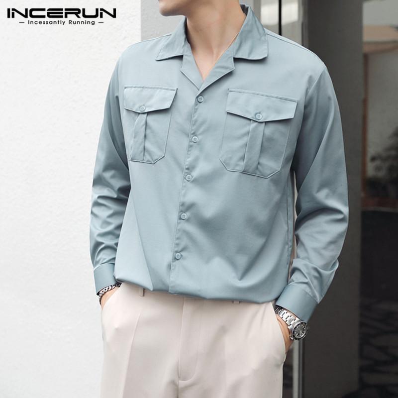 긴 소매 옷깃 블라우스 한국어 스타일 멀티 포켓 캐미사 Incerun 단색 망 셔츠 패션 남성 편안한 버튼 플러스 사이즈 남성 캐주얼