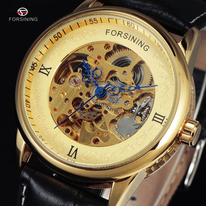 Erkekler Erkek Rus Altın İskelet Otomatik Saat Deri Bant Rahat Mekanik Askeri Saatler Saatı