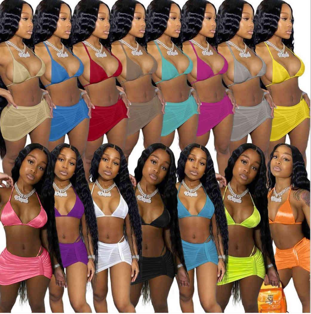Yaz Kadın Mayo 3 Parça Bikini Set 3 Stilleri Seksi Mayo Katı Renk Yüzme takımları Artı Boyutu S-2XL Yüzme Giysileri Plaj Giymek D366