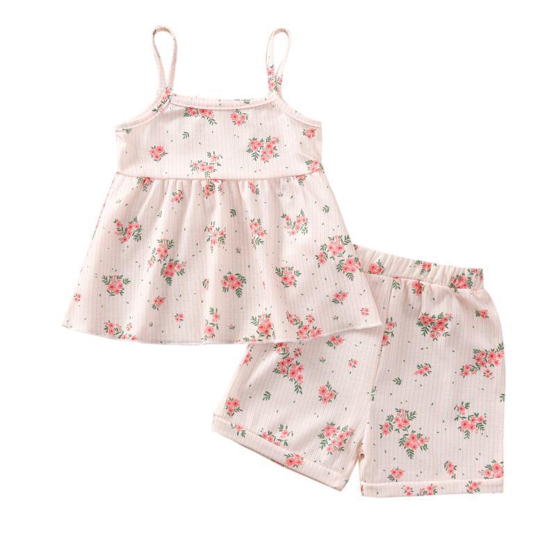 2 unids niño pequeño bebé ropa de verano vestido sin mangas camisa camisa pantalones cortos 4colors outfit 0-5 años