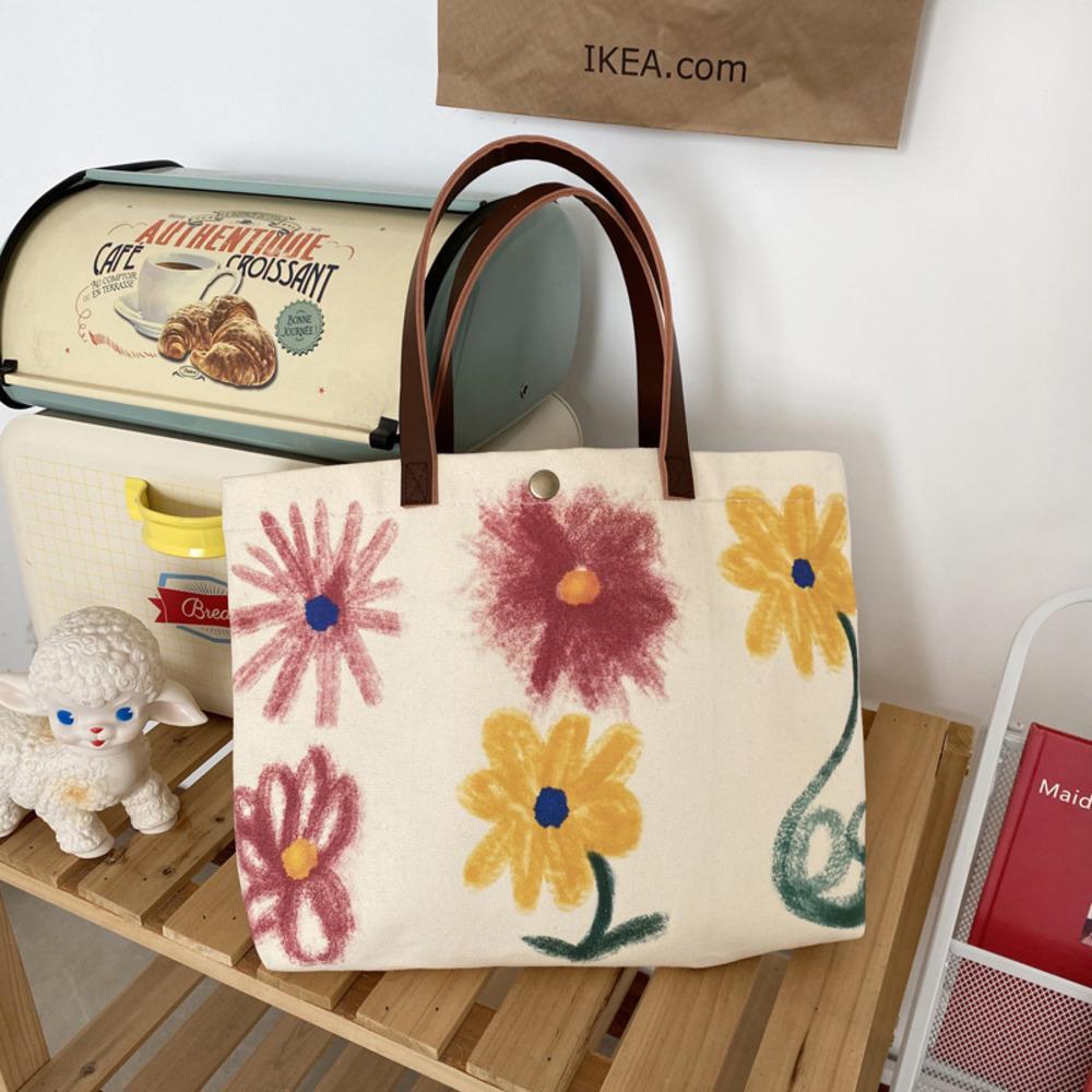 Frauen Leinwand Schulter Gekritzel Blume Druck Shopper Tasche Baumwolltuch Große Kapazität Studenten Weibliche Handtaschen Tote Einkaufstaschen C0508