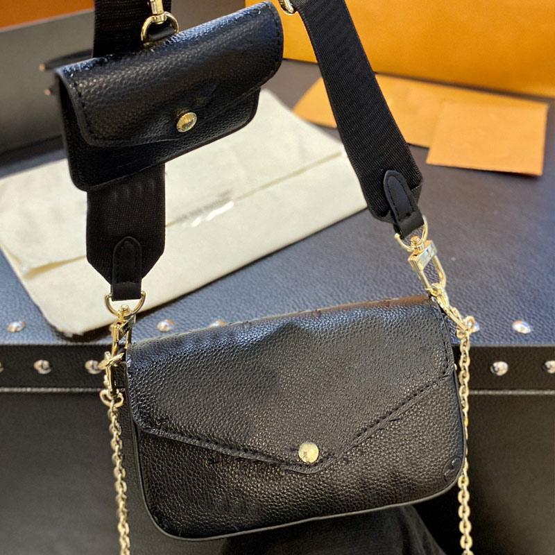 Women Handbag 3 in 1 Shoulder Bag Wallets Fashion Crossbody Bags Genuine Leather Embossed Classic Letter Multi Pochette Removable Adjustable Nylon Strap Purse