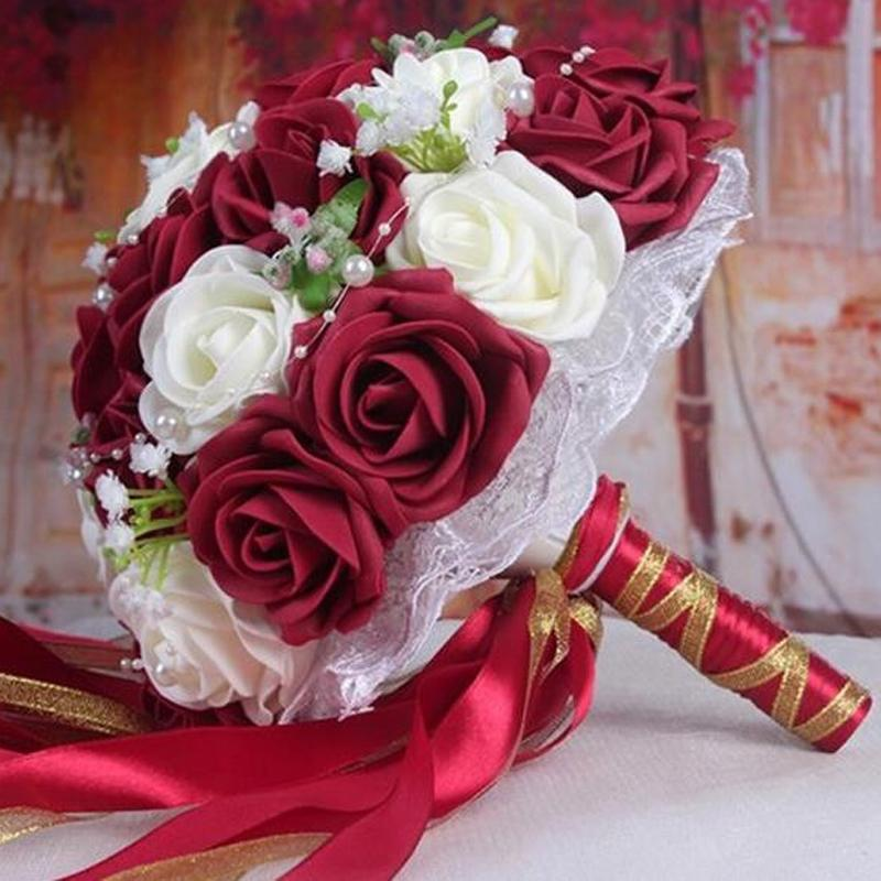 Women Roses Ribbon Decorations Bridal Flowers Accessories Gown Fast Shipping Burgundy Burgundy Artificial Wedding Bouquets