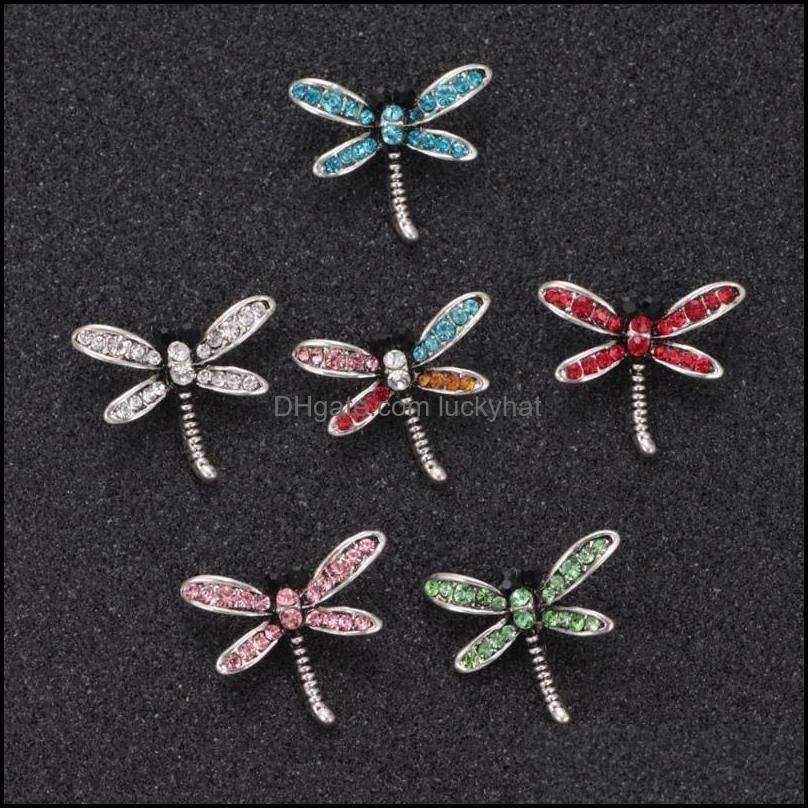 Encanto Pulseras Joyas Llegadas Rhinestone Dragonfly Forma Forma Metal Botón Snap para bricolaje Charms Pulsera 18mm Snaps Joyería Drop Party 2021