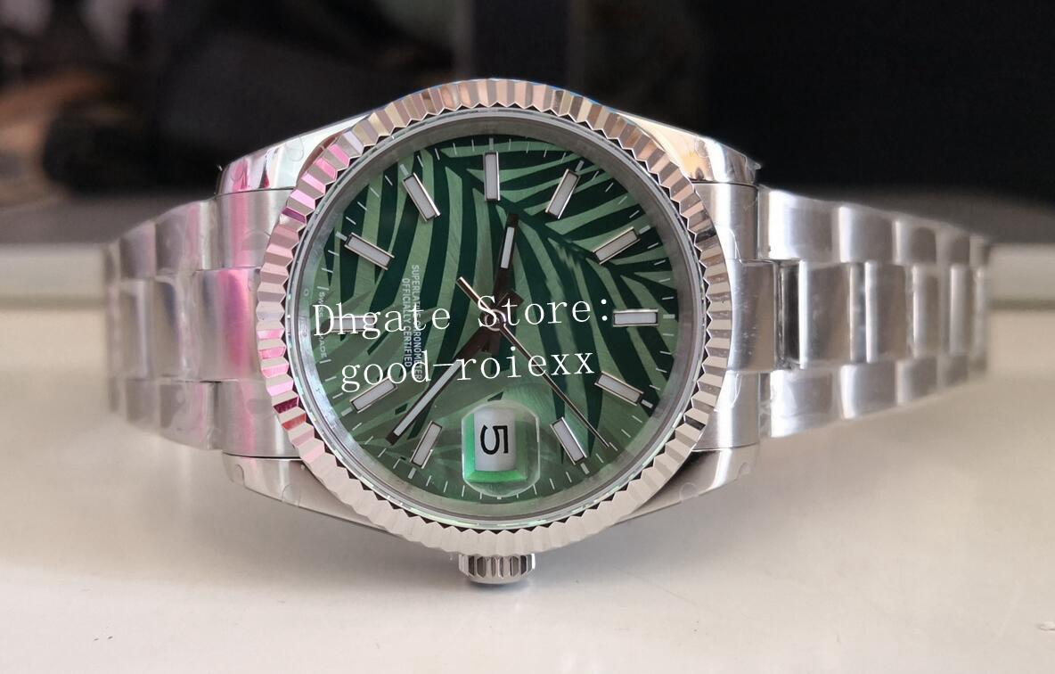 2021 Novo estilo relógios senhoras Olive Green Palm Leaf Dial BP Factory Watch 36mm Unisex Automático 2813 BPF Mens 126234 Jubileu Pulseira Data 126200 mulheres relógios de pulso