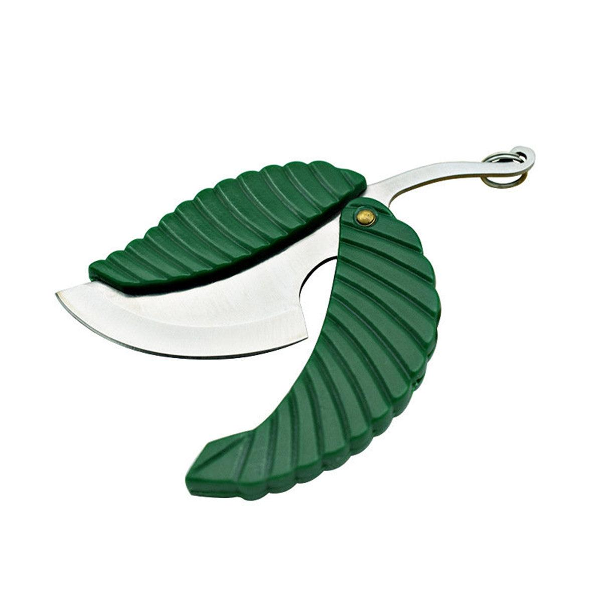 Grünes Mini-Falten-Taschenmesser Blattform Styling Schlüsselanhänger Messer Outdoor Camp Fruchtmesser Camping Wandern Survival Tool GWF7815