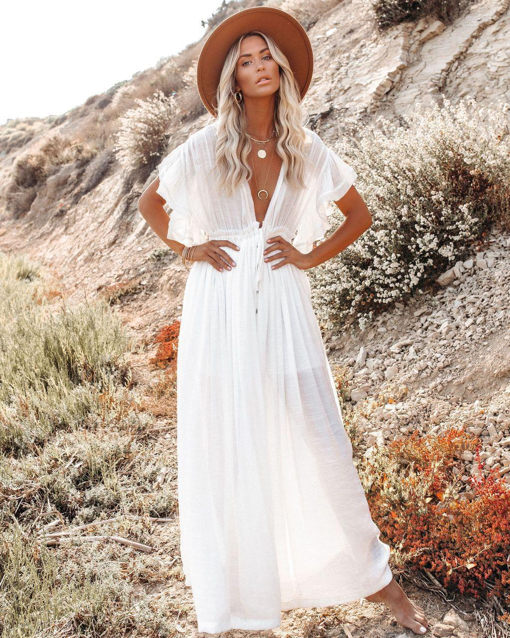 2021 Summer Retro Women Casual Dresses Beach dress blouse Button Drawstring Sun protection shirt V-Neck One size