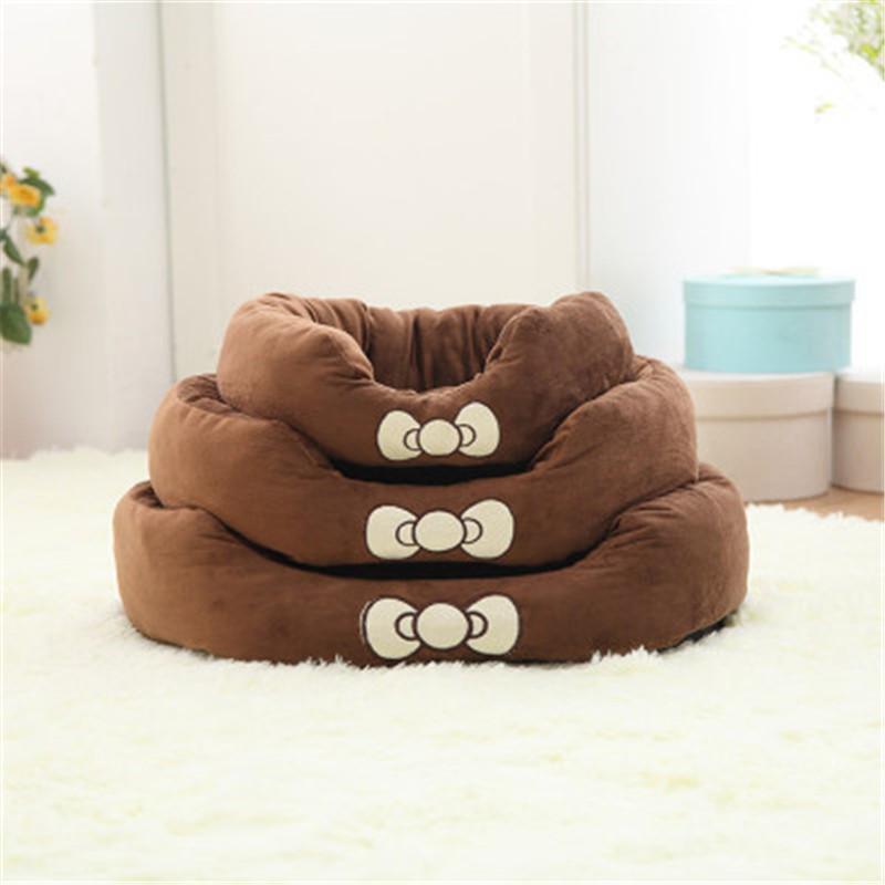 Кошачьи кровати мебель домашнее животное лук круговая собака питомник теплый флис домик кровать диван моющийся коврик маленький щенок для чихуахуа конфеты конфеты цвета