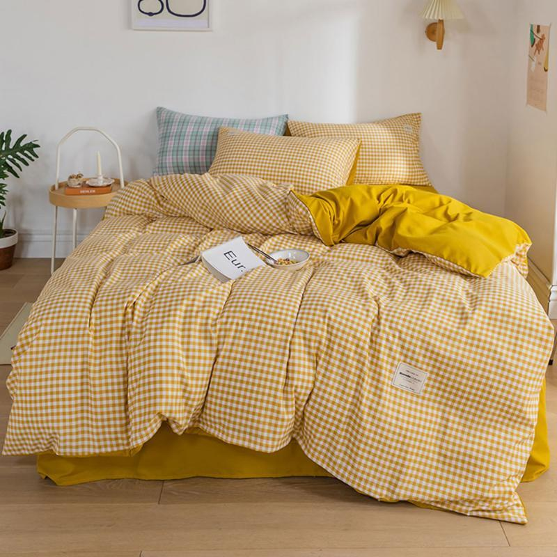Conjuntos de ropa de cama Líneas geométricas Amarillas Líneas geométricas Conjunto de tapa de edredón Microfibra Reina King Tamaño Cojas de cama Hoja plana Casas de almohada