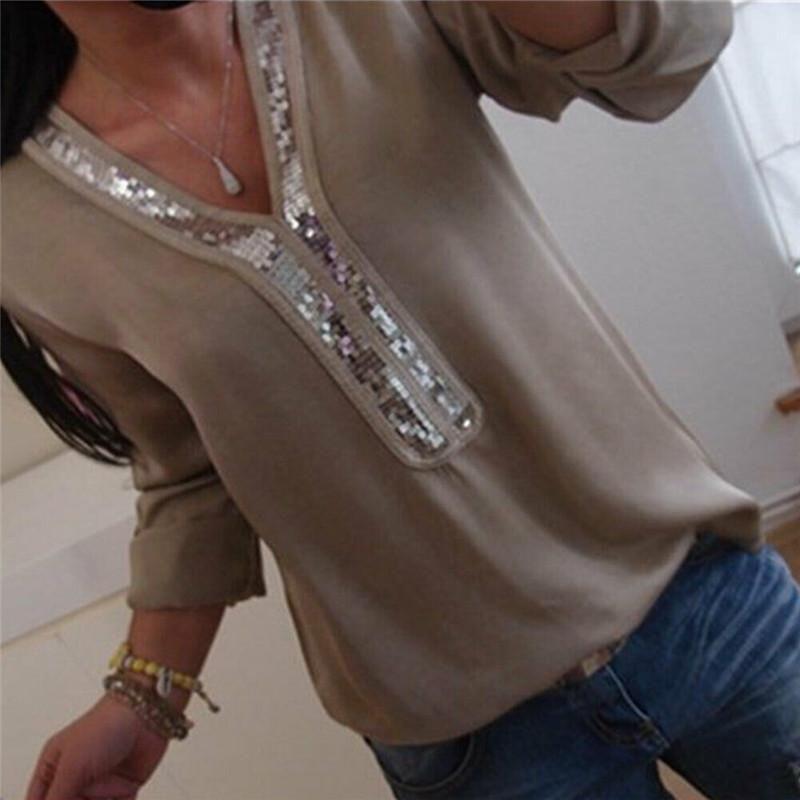 Casual Donne Sequin Chiffon Bluses Sexy scollo a V Manica lunga Camicie Lady Summer Office Blusa allentato Tops Plus Size L-5XL Donne da donna