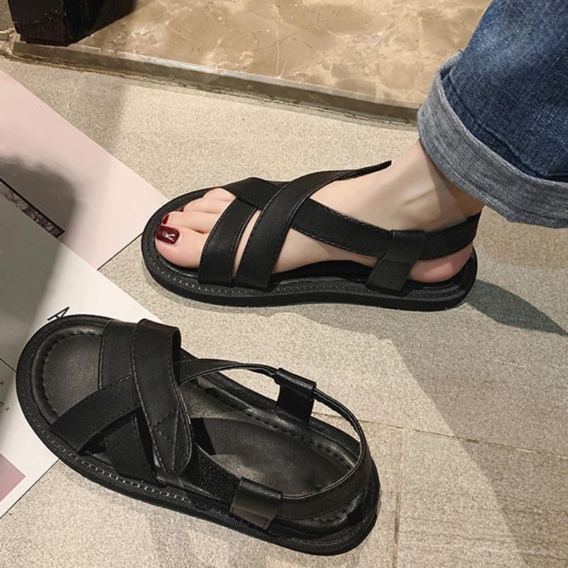Craps Cross Black Rome Sandali Fashion PU in pelle aperta Punta leggera Estate Estate Scarpe da spiaggia casual da estate
