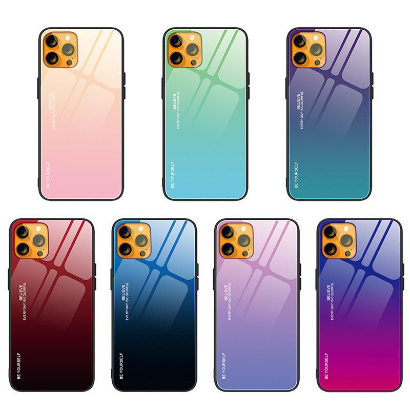 Arco-íris Laser Aurora Gradiente Duro Temperado Vidro TPU Silicone Borracha Anti-Scratch Borda Capa Capa Para iPhone 13 Pro Max 12 Mini 11 XS XR X 8 7 6 6 PLUS SE