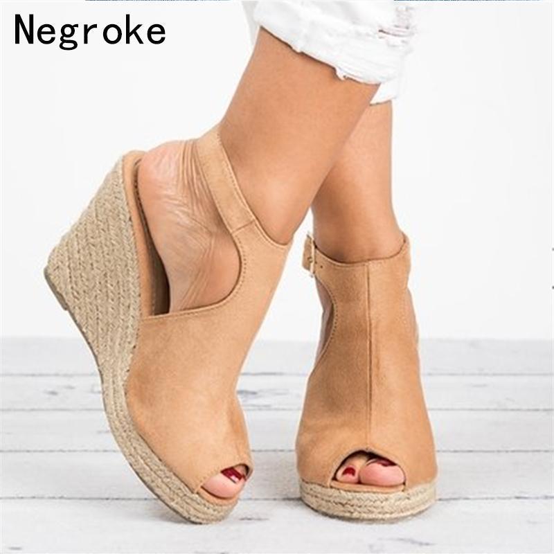 Summer High Wedge Heels Sandali Womens Sexy Open Toe Platform Shoes Donna Espadrilles Sandalias Mujer 2021 Goccia