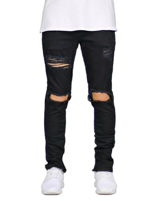 Мужские брюки Мужчины Повседневная тощая Уничтоженные Уничтоженные Байкер Тонкий Fit M Брюки с дырами Мужская одежда Плюс Размер