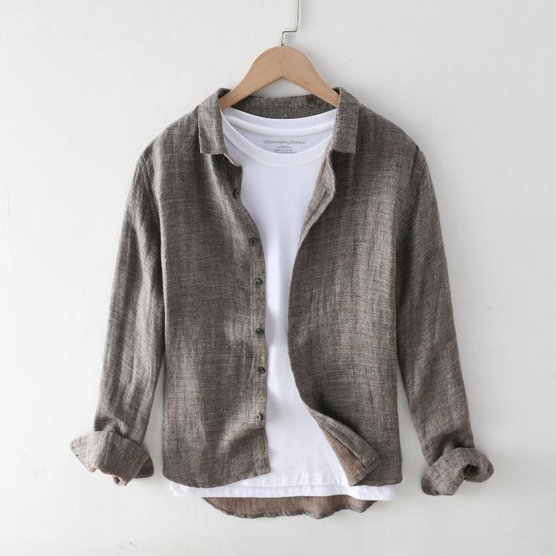 남자 봄 여름 패션 기본 디자인 일본 간단한 하라주쿠 코튼 린넨 긴 소매 셔츠 단색 컬러 옷깃 빈티지 블라우스 남자 캐주얼 sh