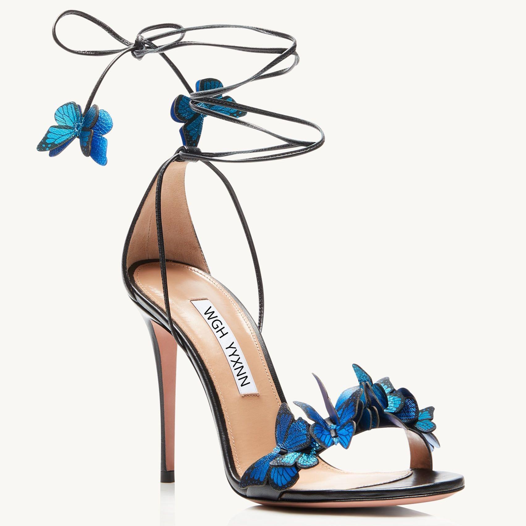 Женские кожаные сандалии с открытым кодом, бабочка на шнуровке высоких каблуков, сексуальные шпильки, размер: 34-42, черный