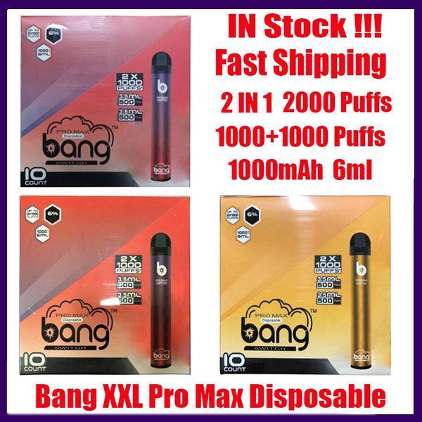 Bang Pro Max 스위치 일회용 장치 키트 Vape 2 in 1 6ml 포드 2000 퍼프 1100mAh 배터리 xxtra 더블 펜 VS Vcan Double