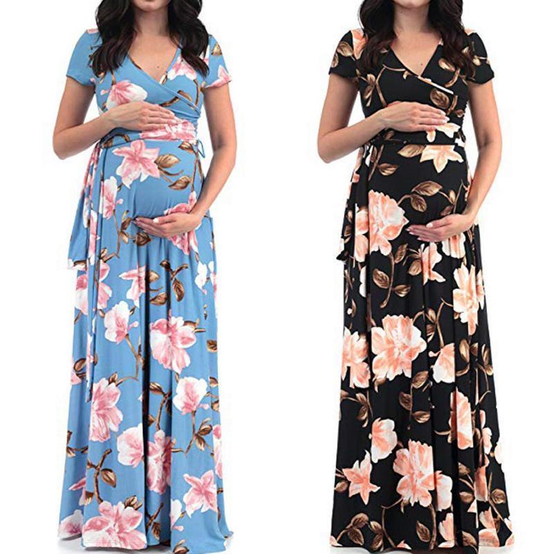 اللباس الأمومة النساء الأزهار طباعة قصيرة الأكمام الخامس الرقبة ماكسي طويل الحوامل po الملابس فساتين ثوب الصيف