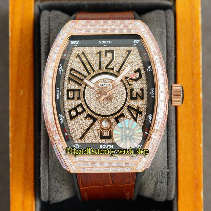 Eternity Jewelry Relógios RRF V2 Versão de Atualização Vanguard V45 SC DT Japão Miyota 8215 Automático Fora Gelado Mens Relógio Rose Diamante Dial T-Diamonds Caixa de couro