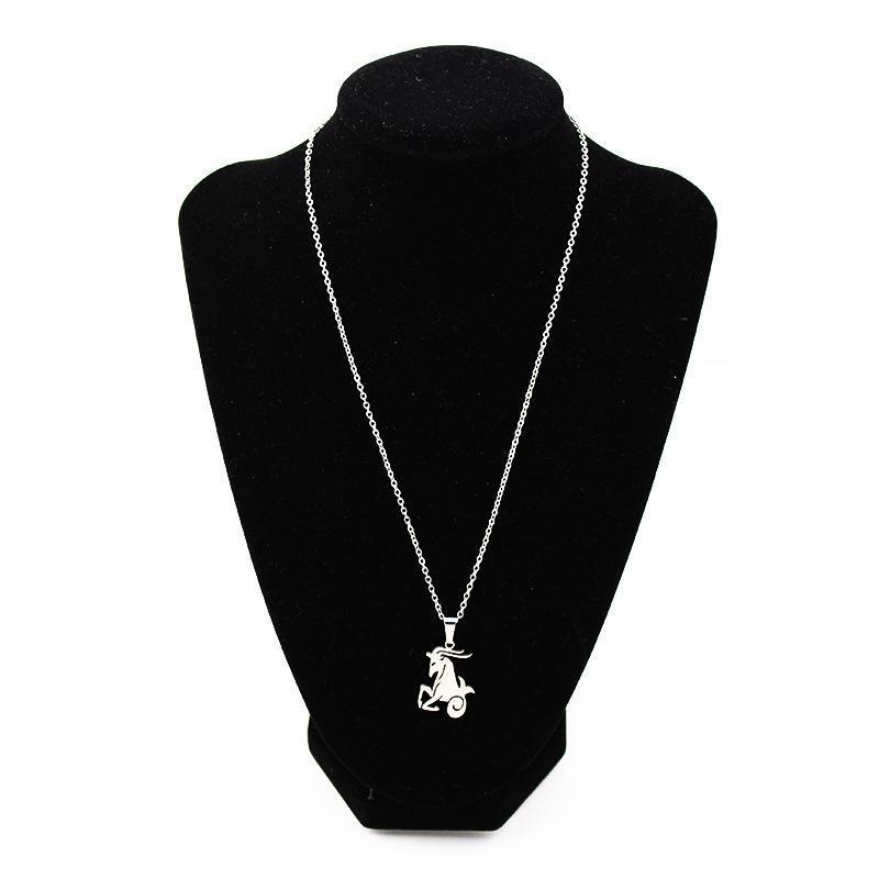Pendentif Colliers 12 Constellation En acier inoxydable Zodiac Signe Vierge Balance Scorpio Pour Femmes Hommes Collier Collier Bijoux
