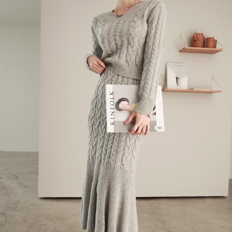 Zawfl Frauen Herbst Feste Gestrickte Zwei Teil Anzüge Weibliche Pullover Pullover Tops + Slim Bodycon Mermaid Rock Sets 210603
