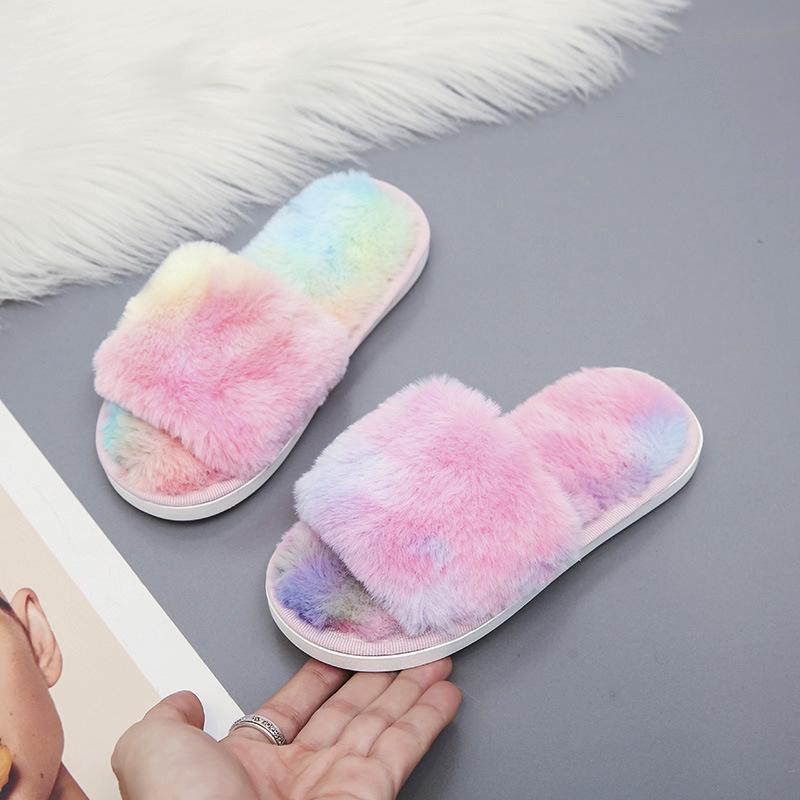 아이 솜털 슬리퍼를위한 어린이 신발 오픈 발가락 플랫 하우스 유아 레오파드 겨울 실내 SlipPerx44 슬리퍼