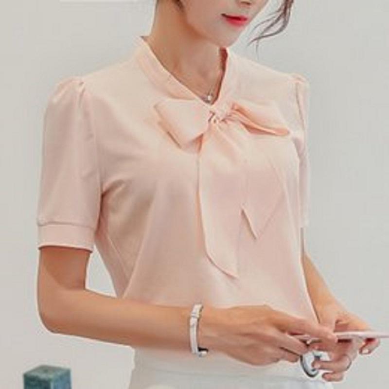 Wiosna Lato Kobiety Krótki Rękaw Szyfonowy Bluzki Odzież Dziewczyna Casual Bow Tie Office Lady Ruffles Formal Tops