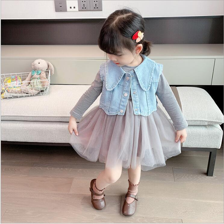 2 pcs set Children's baby striped long-sleeved tutu dress + denim vest girl suit Kids Clothing