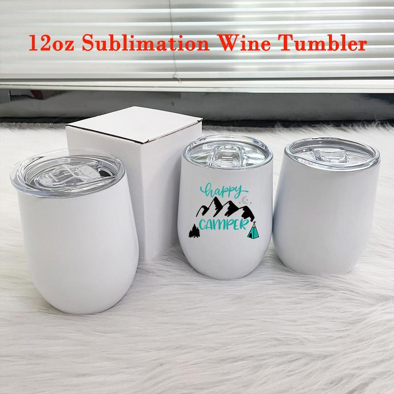 Blank 12oz Sublimation Tumbler Tumbler Tazza in acciaio inox Shape a forma di uovo Tazze da caffè fai da te Tazza di latte isolata bianca per il regalo del festival di nozze