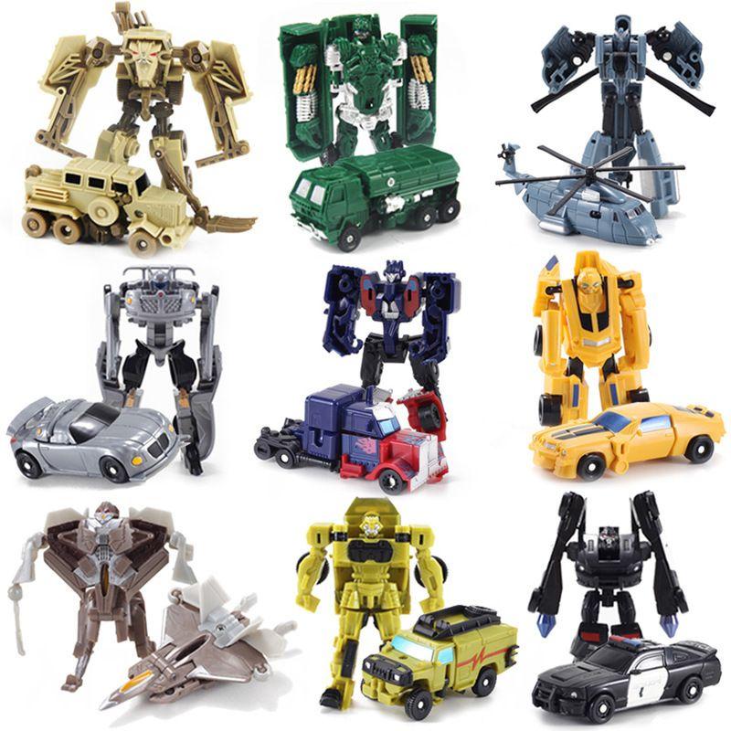 YUTONG 9 UNIDS / SET EXCELENTE TRANSFORMACIÓN Mini robot Juguetes para automóviles para niños Figuras de juguete de acción Plastic Education Deformation Boys regalos