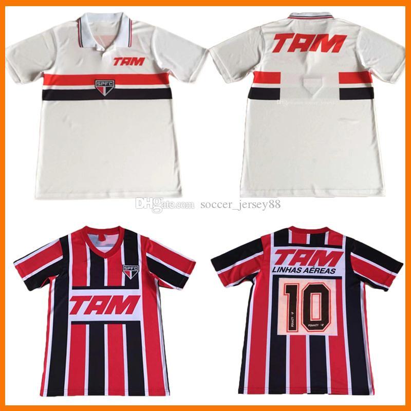 1993 1994 Sao Paulo Retro Jerseys de fútbol Hogar alejado Negro Rojo 93 94 Maillots Camiseta Camisa de Futebol Classic Vintage Football Shirts